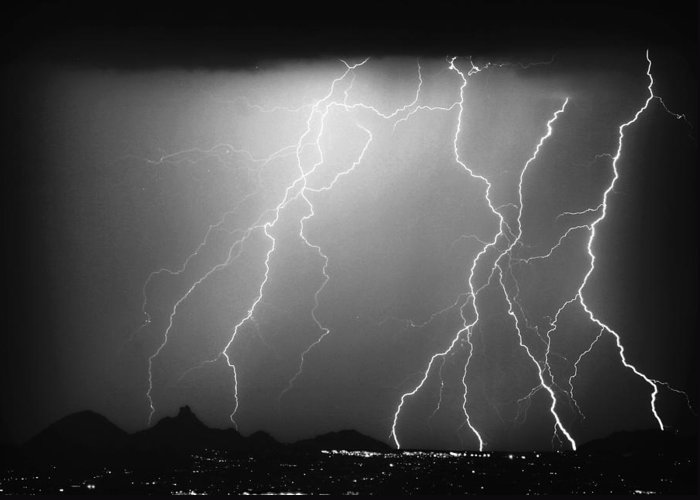 Lightning Greeting Card featuring the photograph 85255 Black And White by James BO Insogna