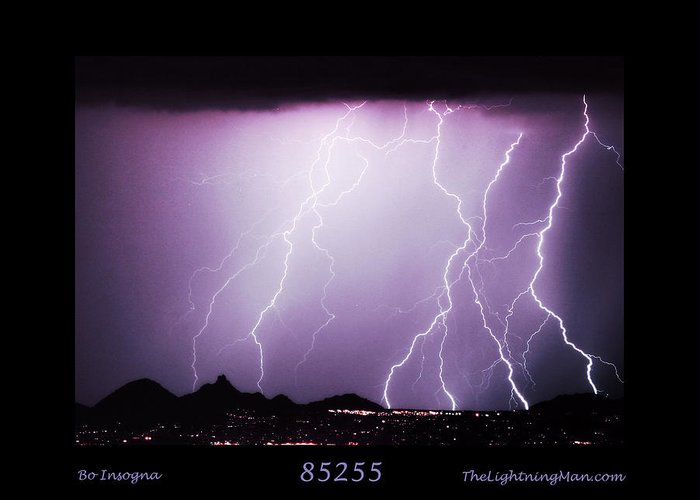 Lightning Greeting Card featuring the photograph 85255 Fine Art Arizona Lightning Photo Poster by James BO Insogna