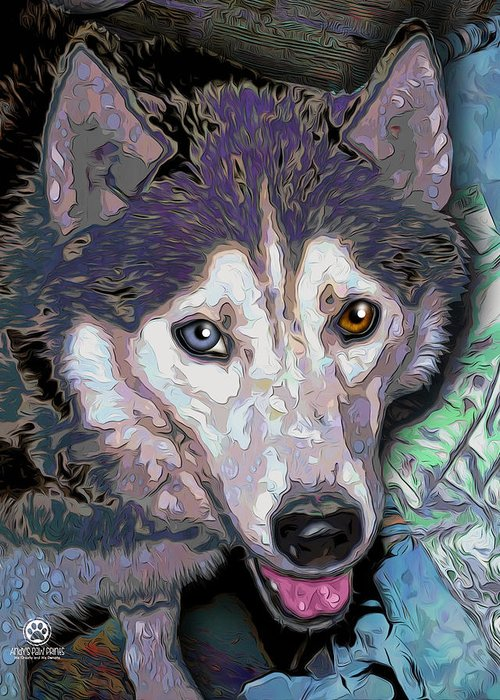Andy's Paw Prints Greeting Card featuring the digital art 8868369 by Andy Accessories