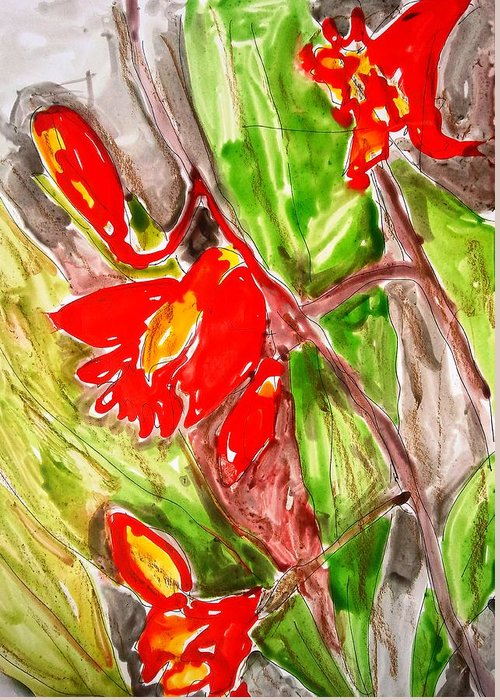 Abstract Greeting Card featuring the painting Divine Flowers by Baljit Chadha