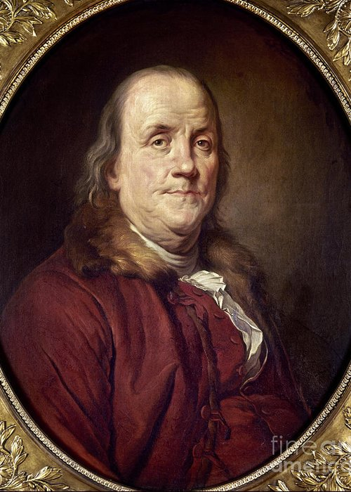 1785 Greeting Card featuring the photograph Benjamin Franklin (1706-1790) by Granger