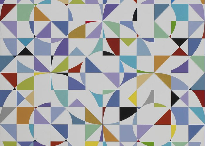 Colorful Geometric Pattern Greeting Card featuring the painting Untitled 9 by Marston A Jaquis
