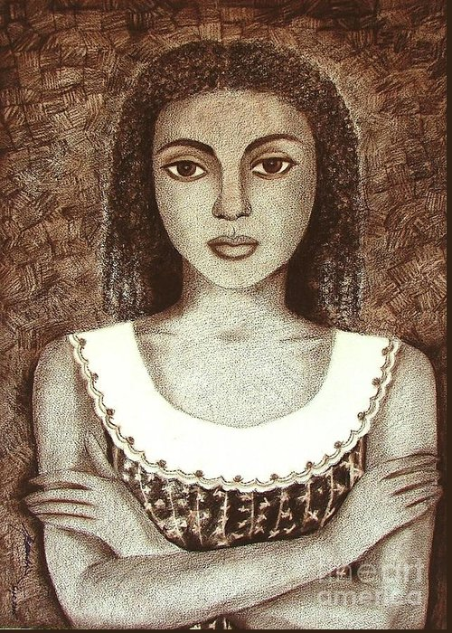 Figurative Greeting Card featuring the drawing Untitled by Padmakar Kappagantula