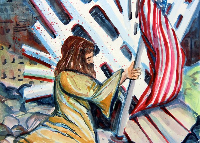 911 Greeting Card featuring the painting 911 Cries For Jesus by Mindy Newman