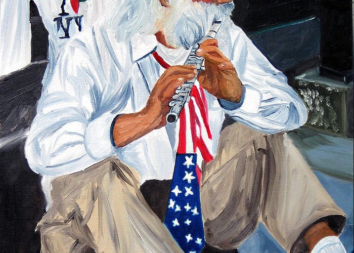 Street Musician Greeting Card featuring the painting 911 Tribute by Michael Lee