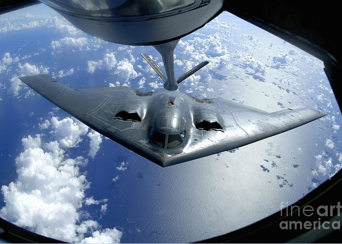 Color Image Greeting Card featuring the photograph A B-2 Spirit Moves Into Position by Stocktrek Images