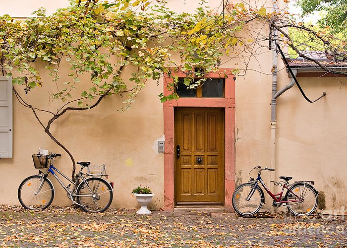 Travel Greeting Card featuring the photograph A Back Lane In Speyer by Louise Heusinkveld