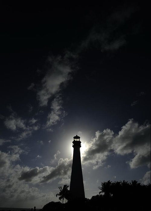 Outdoors Greeting Card featuring the photograph A Backlit View Of A Lighthouse Built by Raul Touzon