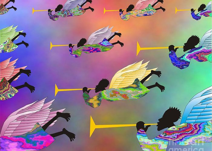 Angels Greeting Card featuring the digital art A Band Of Angels by Walter Oliver Neal