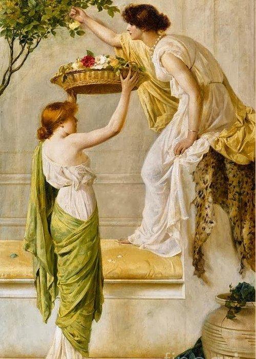 Henry Thomas Schaefer - A Basket Of Roses Greeting Card featuring the painting A Basket Of Roses by MotionAge Designs