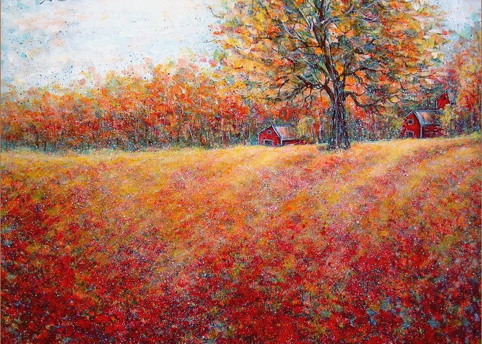 Autumn Landscape Greeting Card featuring the painting A Beautiful Autumn Day by Natalie Holland