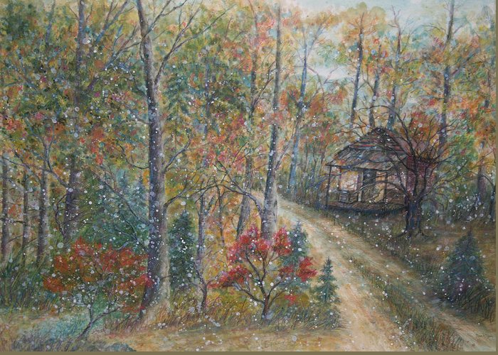 Country Road; Old House; Trees Greeting Card featuring the painting A Bend In The Road by Ben Kiger