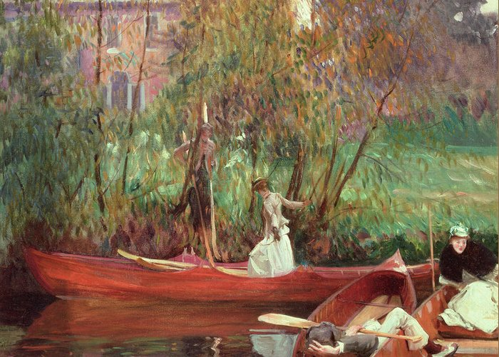 A Boating Party (oil On Canvas) By John Singer Sargent (1856-1925) Greeting Card featuring the painting A Boating Party by John Singer Sargent
