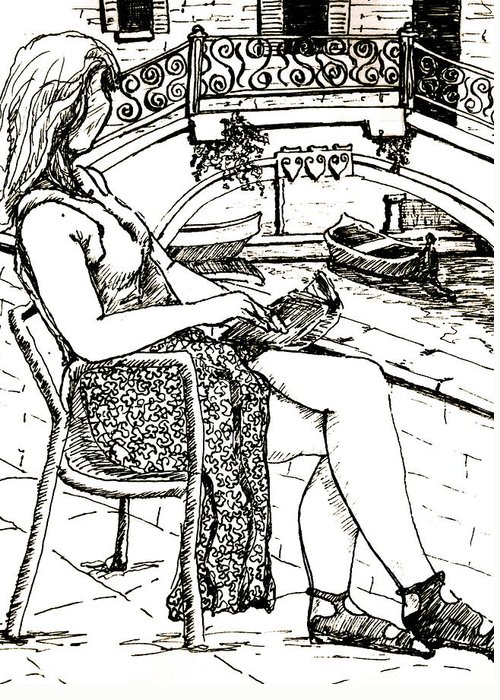 Venice Artwork Greeting Card featuring the drawing A Book In Venice by Dan Earle