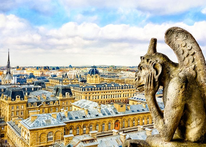 Notre Dame Greeting Card featuring the photograph A Bored Gargoyle Sees Paris by Mark E Tisdale