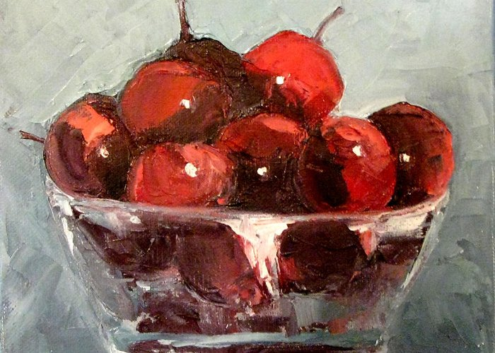 Still Life Greeting Card featuring the painting A Bowl Full Of Cherries by Donna Thomas