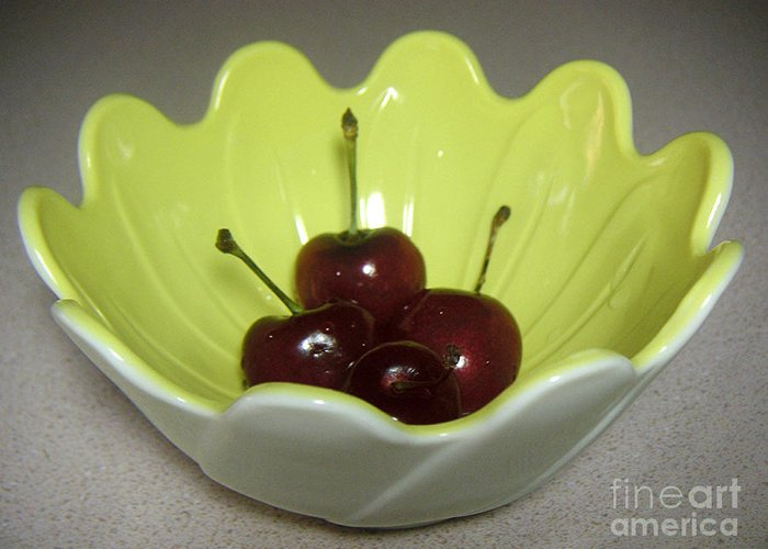 Nature Greeting Card featuring the photograph A Bowl Of Cherries by Lucyna A M Green