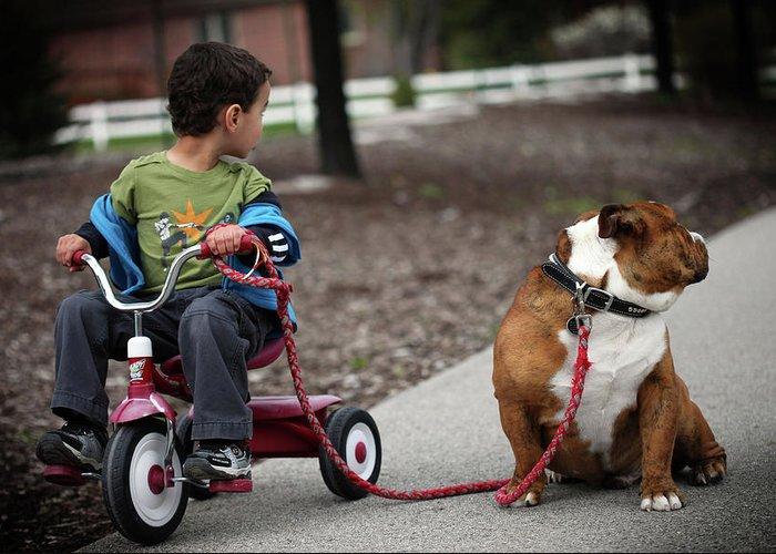 Bulldog Greeting Card featuring the photograph A Boy And His Bulldog by Dan Pearce