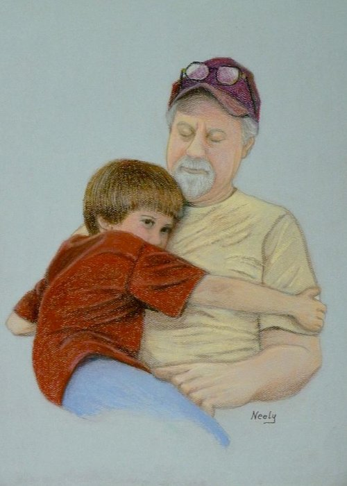 Dad Greeting Card featuring the pastel A Boy And His Dad by Pat Neely