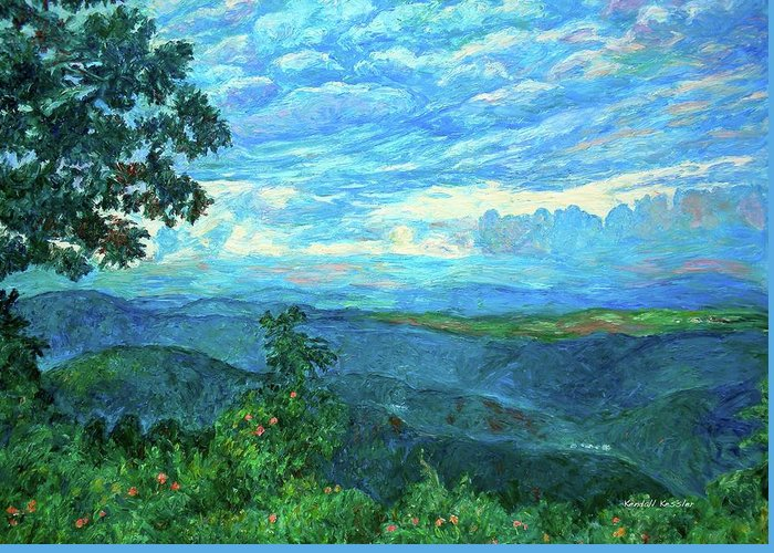 Mountains Greeting Card featuring the painting A Break In The Clouds by Kendall Kessler