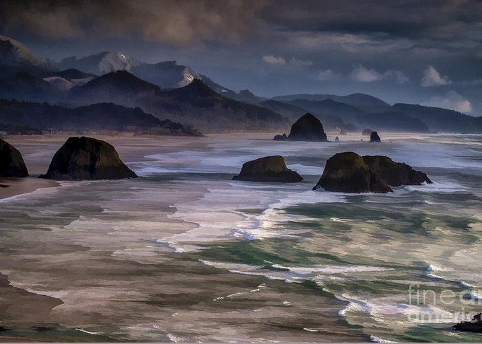 Beaches Greeting Card featuring the photograph A Break In The Storm by Robert Potts