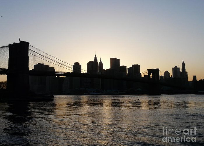 Brooklyn-bridge Greeting Card featuring the print A Bridge Over The River Hudson by Kendall Eutemey
