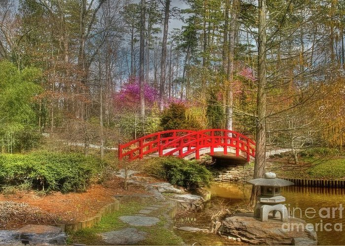 Sarah P. Duke Gardens Greeting Card featuring the photograph A Bridge To Spring by Benanne Stiens