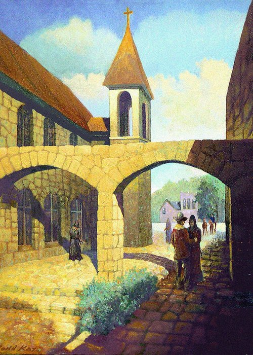 Texas New Mexico Missions Cowboy Horses Southwestern Giclee Prints Churches Greeting Card featuring the painting A Brothers Farewell by Donn Kay
