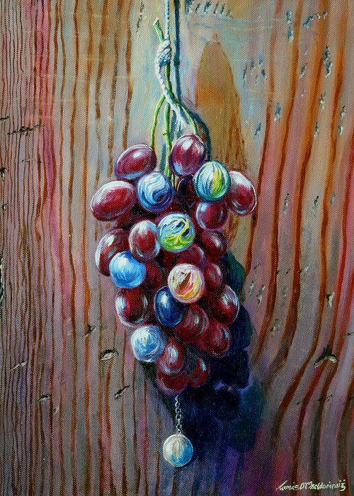 Still Life Greeting Card featuring the painting A Bunch Of by Tomas OMaoldomhnaigh