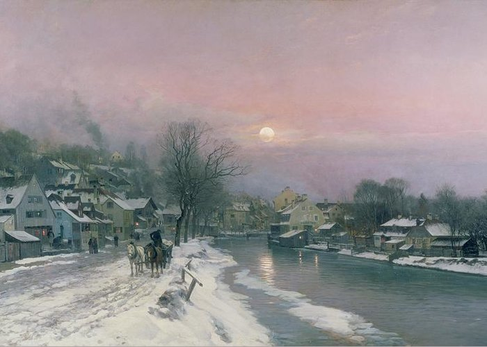 Canal Greeting Card featuring the painting A Canal Scene In Winter by Anders Anderson Lundby