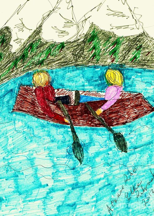 Two People A Canoe Lake Mountains Background Greeting Card featuring the mixed media A Canoe Ride by Elinor Rakowski