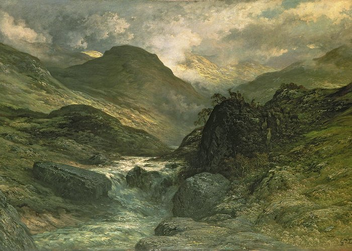 Dore Greeting Card featuring the painting A Canyon by Gustave Dore