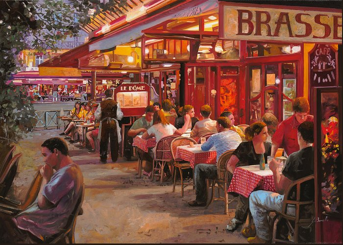 Street Scene Greeting Card featuring the painting A Cena In Estate by Guido Borelli