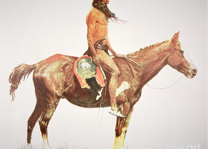A Cheyenne Brave Greeting Card featuring the painting A Cheyenne Brave by Frederic Remington