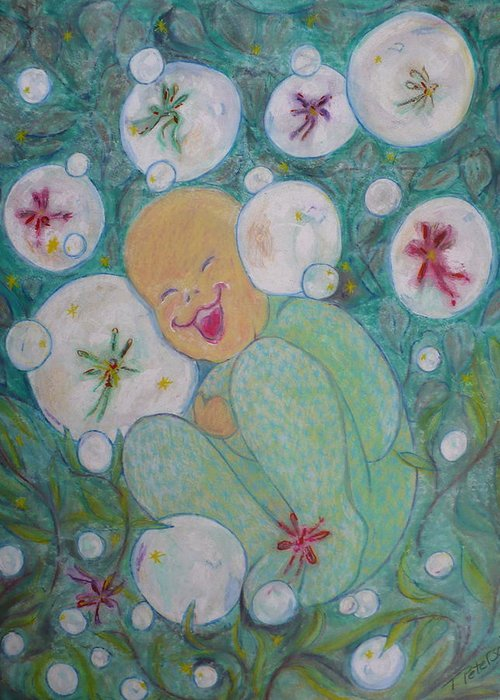 Painting Greeting Card featuring the painting A Childs First Laugh by Todd Peterson