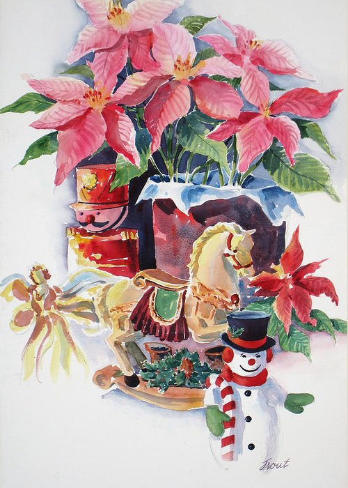 Stilllife Greeting Card featuring the painting A Christmas Fantasy by Don Trout