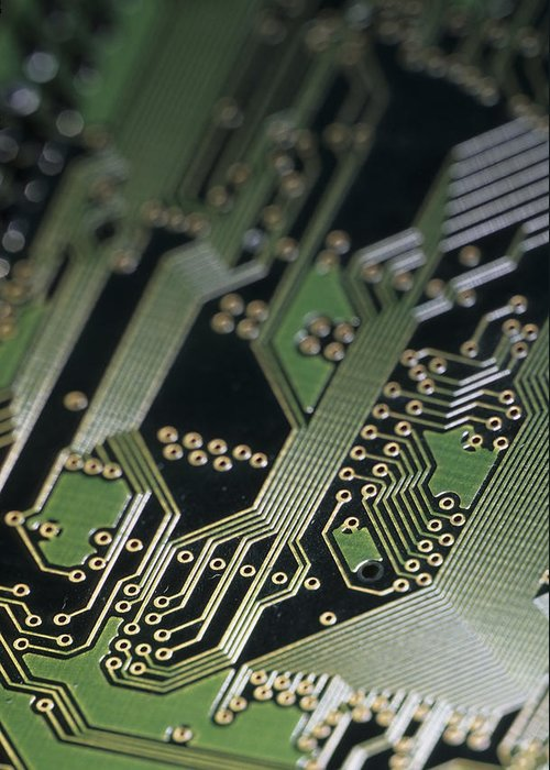 Computers Greeting Card featuring the photograph A Close View Of A Silicon Circuit Board by Taylor S. Kennedy