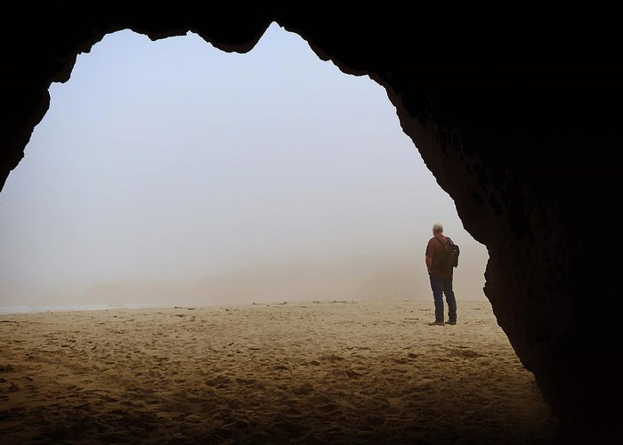 Man Standing In The Fog Photographs Greeting Cards