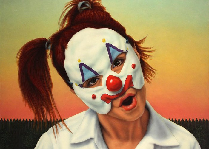 Clown Greeting Card featuring the painting A Clown In My Backyard by James W Johnson