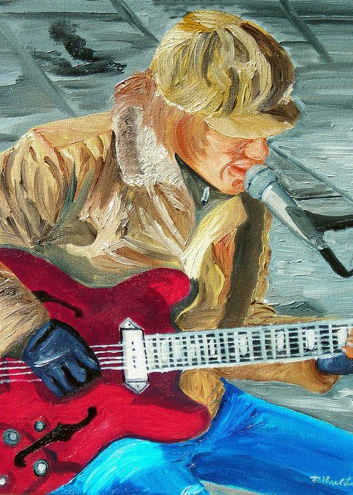 Street Musician Greeting Card featuring the painting A Cold Day To Play by Michael Lee