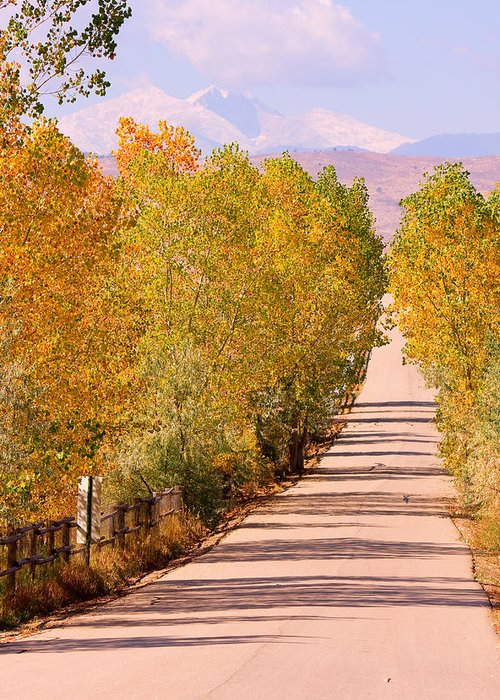 Rockymountains Greeting Card featuring the photograph A Colorful Country Road Rocky Mountain Autumn View by James BO Insogna