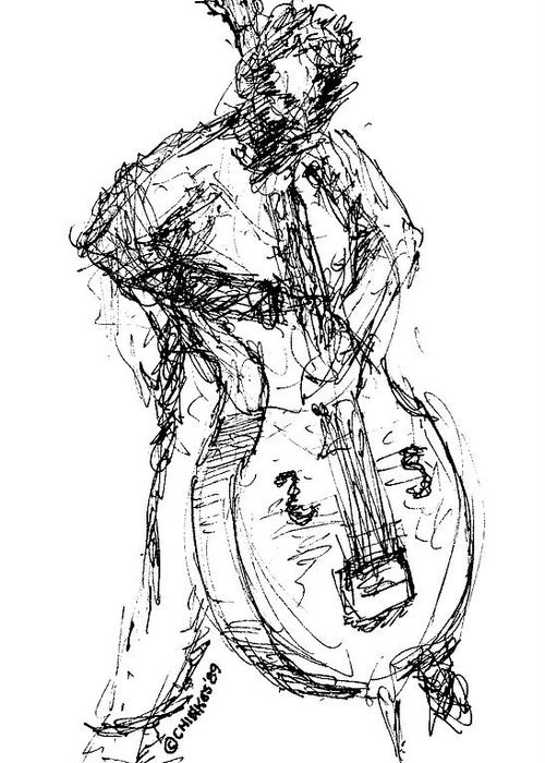 Jazz Greeting Card featuring the drawing A Complete Musician by Sam Chinkes