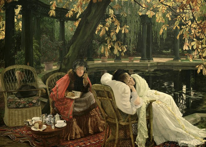 Illness; Lazing; Teatime; Unwell; Invalid; Nurse; Chaperone; Horse; Chestnut; Tree; Victorian; English; Girl; Colonnade; Pool; Autumn; Resting; Tissot; Tissot Garden; St John Wood Greeting Card featuring the painting A Convalescent by James Jacques Joseph Tissot