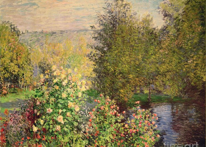 Corner Greeting Card featuring the painting A Corner Of The Garden At Montgeron by Claude Monet