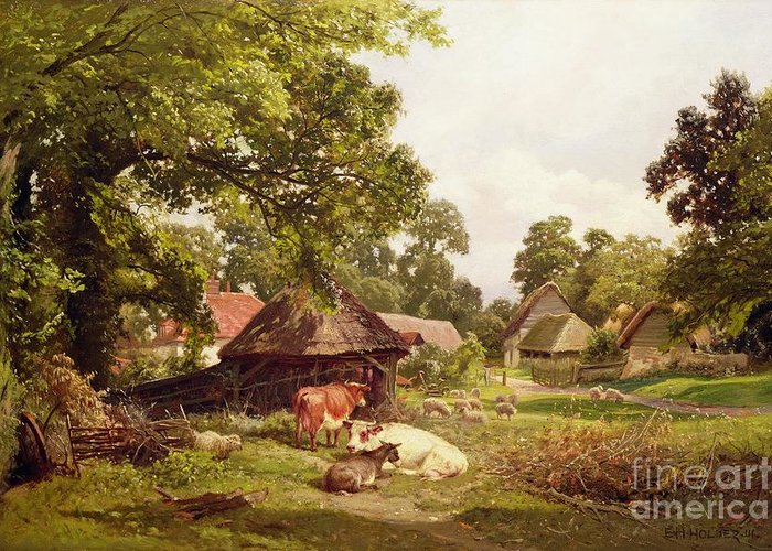 Cottage Greeting Card featuring the painting A Cottage Home In Surrey by Edward Henry Holder