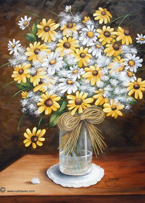 Still Lift Greeting Card featuring the painting A Country Bouquet by Ruth Bares