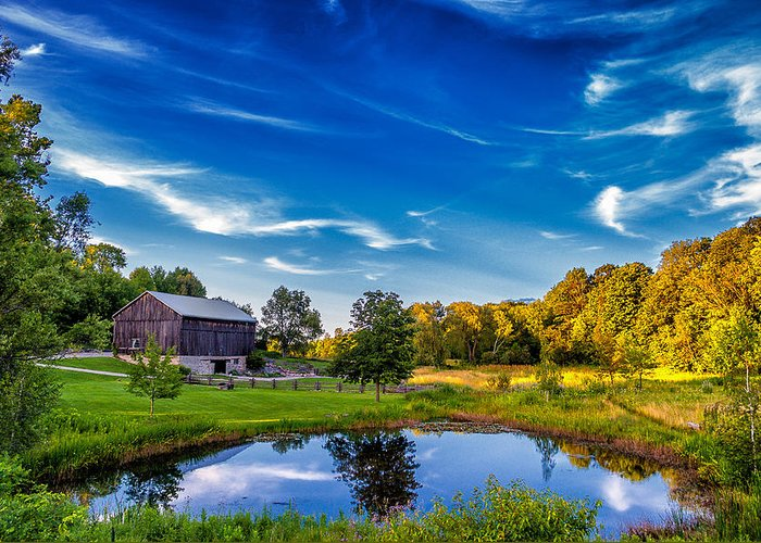 Pond Greeting Card featuring the photograph A Country Place by Steve Harrington