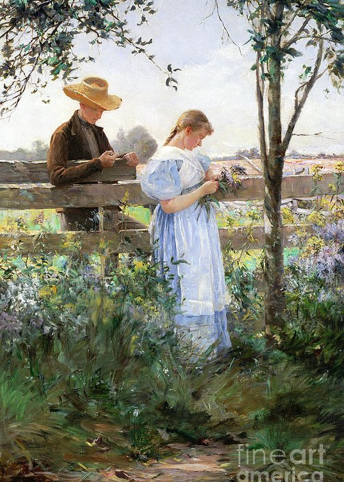 A Country Romance (oil On Canvas) By David B. Walkley (1849-1934) Greeting Card featuring the painting A Country Romance by David B Walkley
