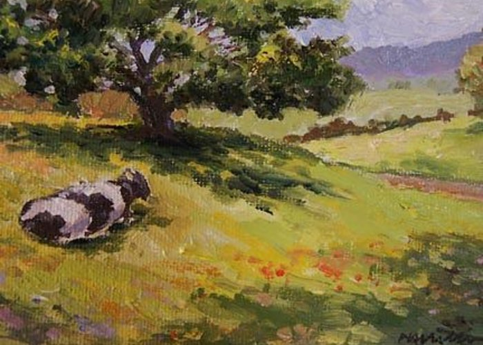 Landscape Greeting Card featuring the painting A Cow by Maralyn Miller