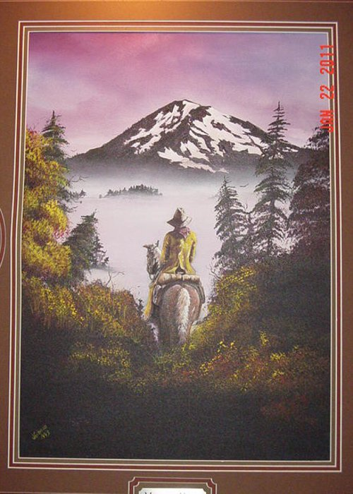 Horse And Mountain Landscape Greeting Card featuring the painting A Cowboys Path by John Gibson